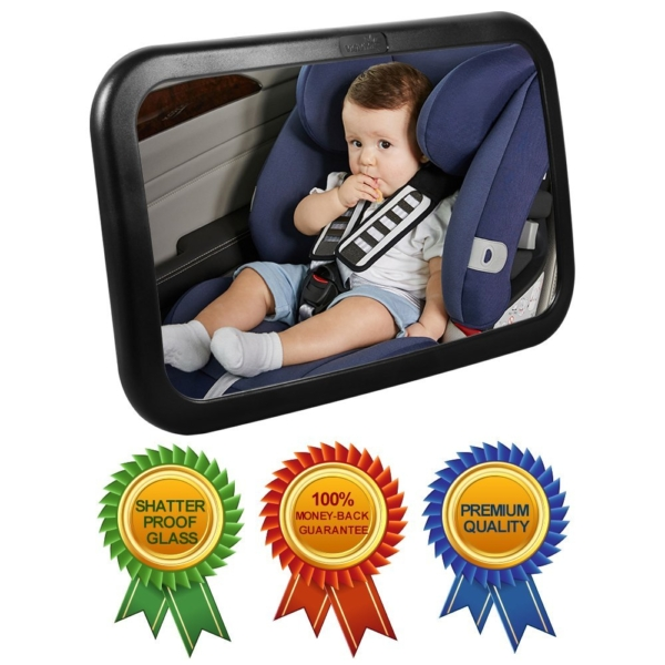 Viciviya Baby Back Seat Mirror Wide Convex Shatterproof Glass Newborn Safety With Secure Headrest Double-Strap