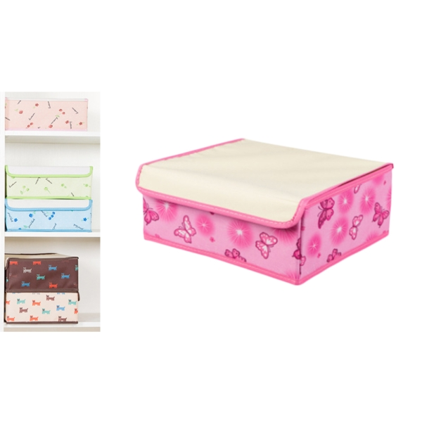 Viciviya 2 in 1 600D Nylon Folding Storage Box Drawer for Underwear Bra Socks Tie Shorts Organizer Pink Butterfly